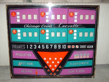 1966 Chicago Coin Corvette Upper Back Glass